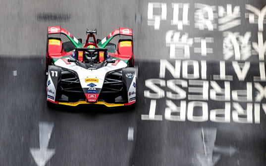 Audi driver Lucas di Grassi celebrates runner-up finish at Formula E's